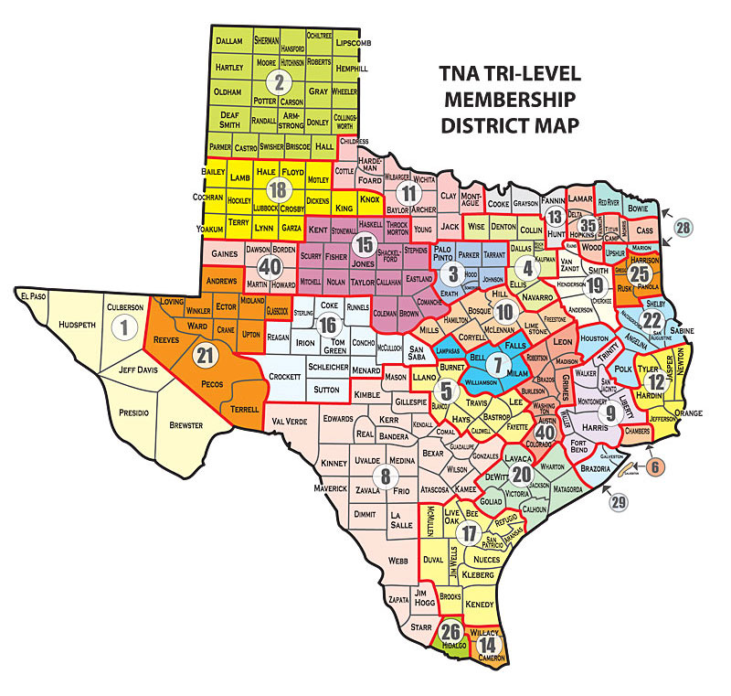 TNA Districts Texas Nurses Association - Full map of texas