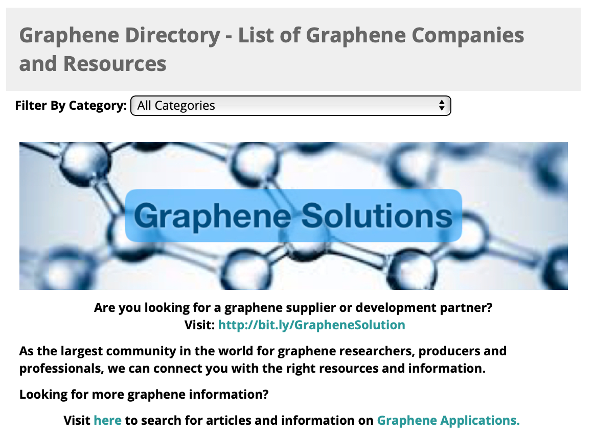 Graphene Directory - List of Graphene Related Organizations