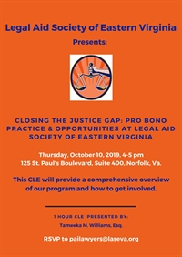 October is Pro Bono Month: Legal Aid Society of Eastern Virginia FREE CLE