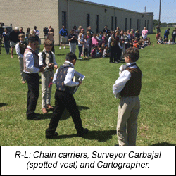Pictured R-L: Students portray chain carriers, Surveyor Carbajal and his Cartographer
