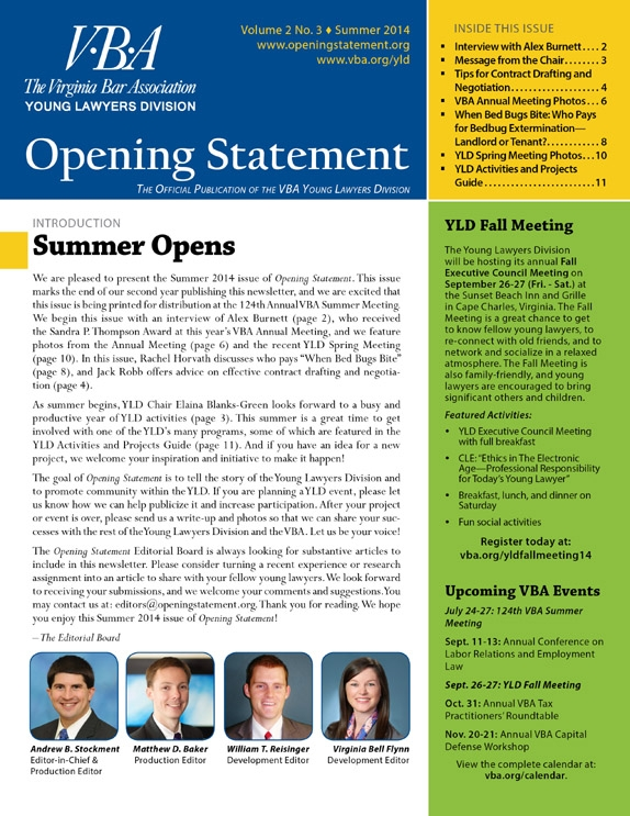 Opening Statement Vol. 2, No. 3, Summer 2014