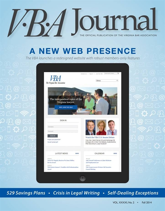 VBA Journal fall 2014 cover features the redesigned website