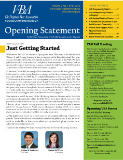 Vol. 2 No. 1 Fall 2013 issue of VBA YLD newsletter