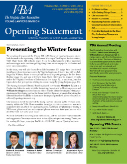 Vol. 2 No. 2 Winter 2013-14 Opening Statement newsletter cover