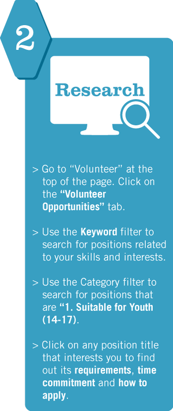 "2. Research. Go to ""Volunteer"" at the top of the page. Click on the ""Volunteer Opportunities"" tab. Use the Category filter to search for positions that are ""1. Suitable for Youth (14-17)."" Click on any position title that interests you to find out its requirements, time commitment and how to apply."