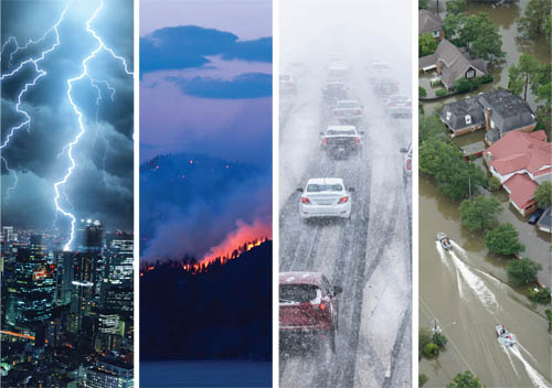 lightning, fire, snow, flood