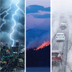 lightning, fire, snow