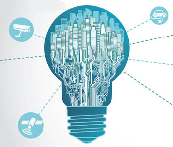 graphic of light bulb with city inside