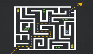 graphic of cars in a maze