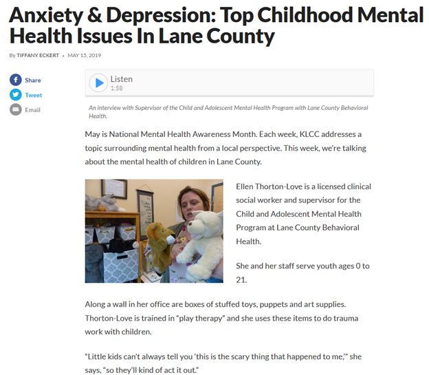Anxiety & depression: top childhood mental health issues in Lane