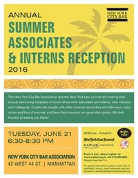 NYC Bar Summer Associates & Interns Reception