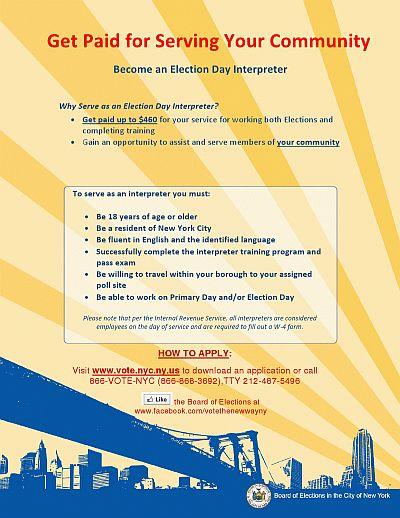 Election Day Interpreter flyer