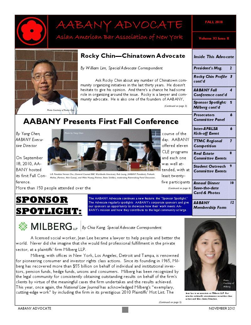 AABANY Advocate Fall 2010