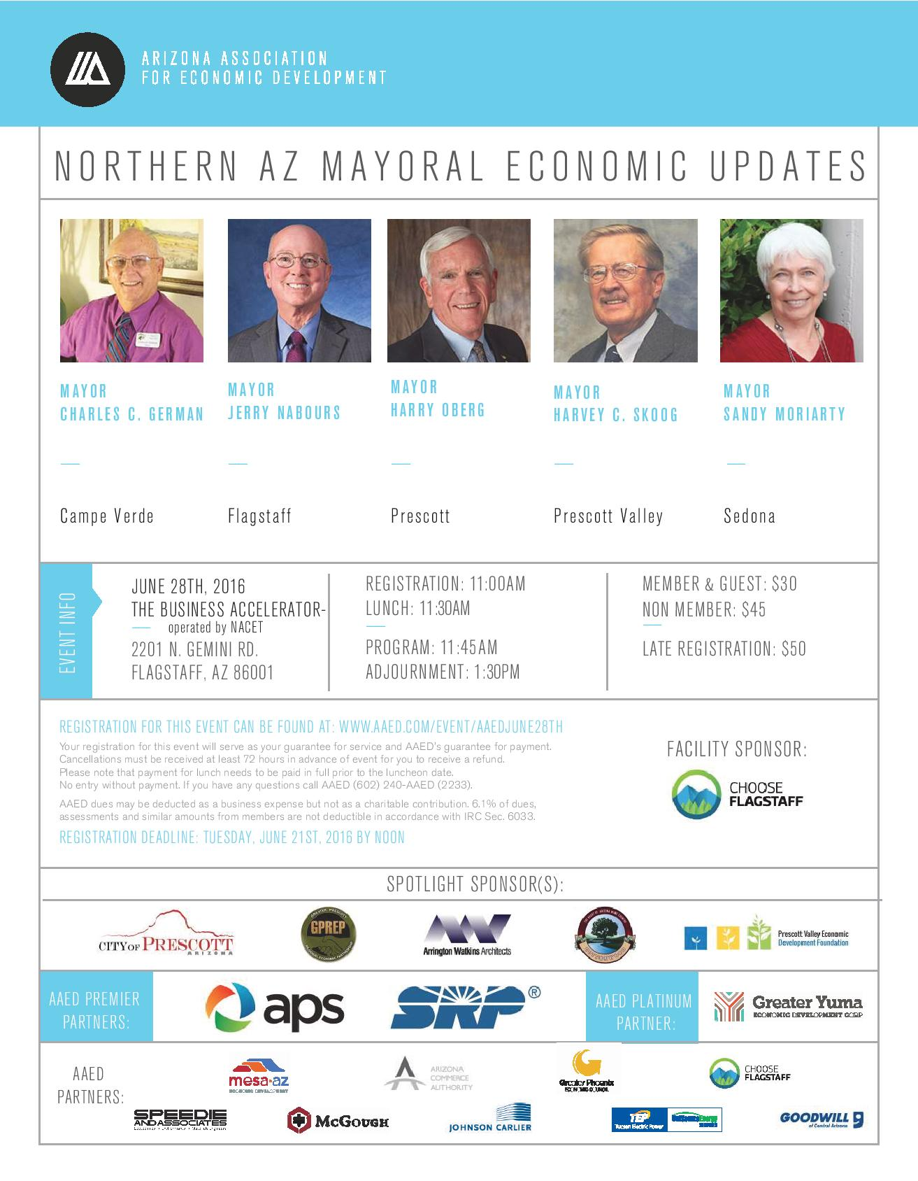 AAED, Northern Arizona Mayoral Economic Updates @ The Business Accelerator- operated by NACET | Flagstaff | Arizona | United States