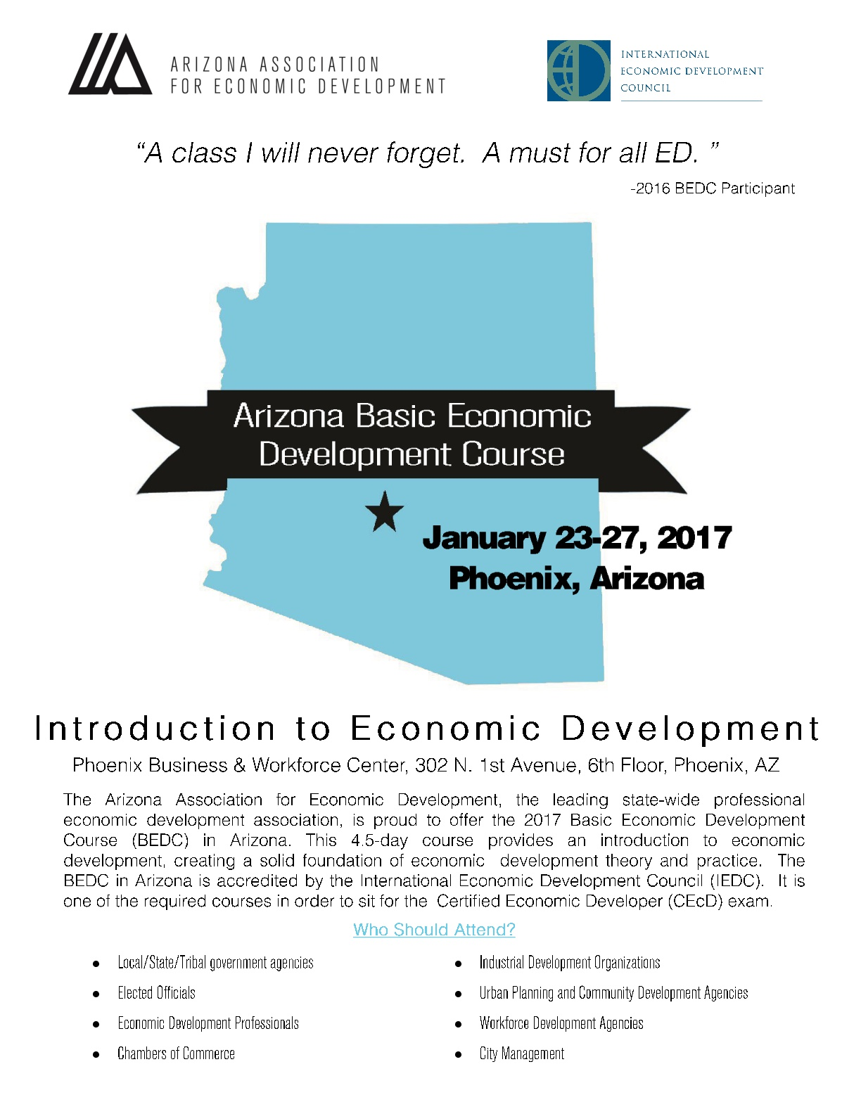 AAED - Arizona Basic Economic Development Course @ Phoenix Business & Workforce Center | Phoenix | Arizona | United States