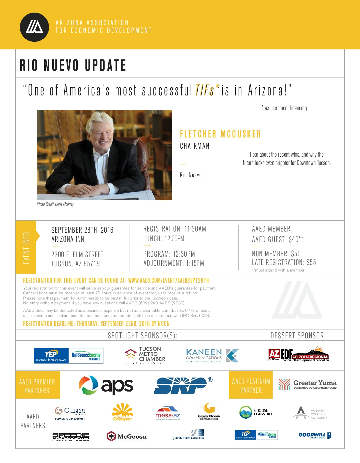 AAED September So. Arizona Luncheon, Rio Nuevo Update @ Arizona Inn | Tucson | Arizona | United States