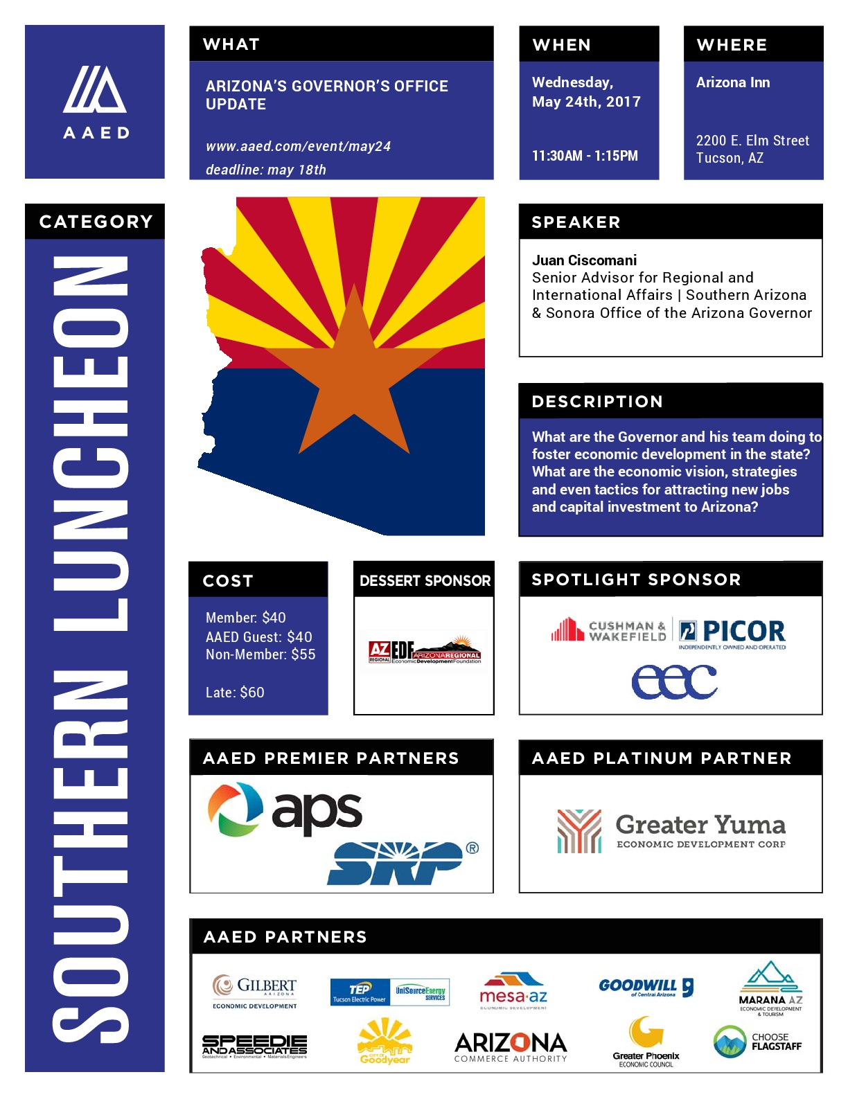 AAED Southern Luncheon, Arizona Governor's Office Update @ Arizona Inn | Tucson | Arizona | United States