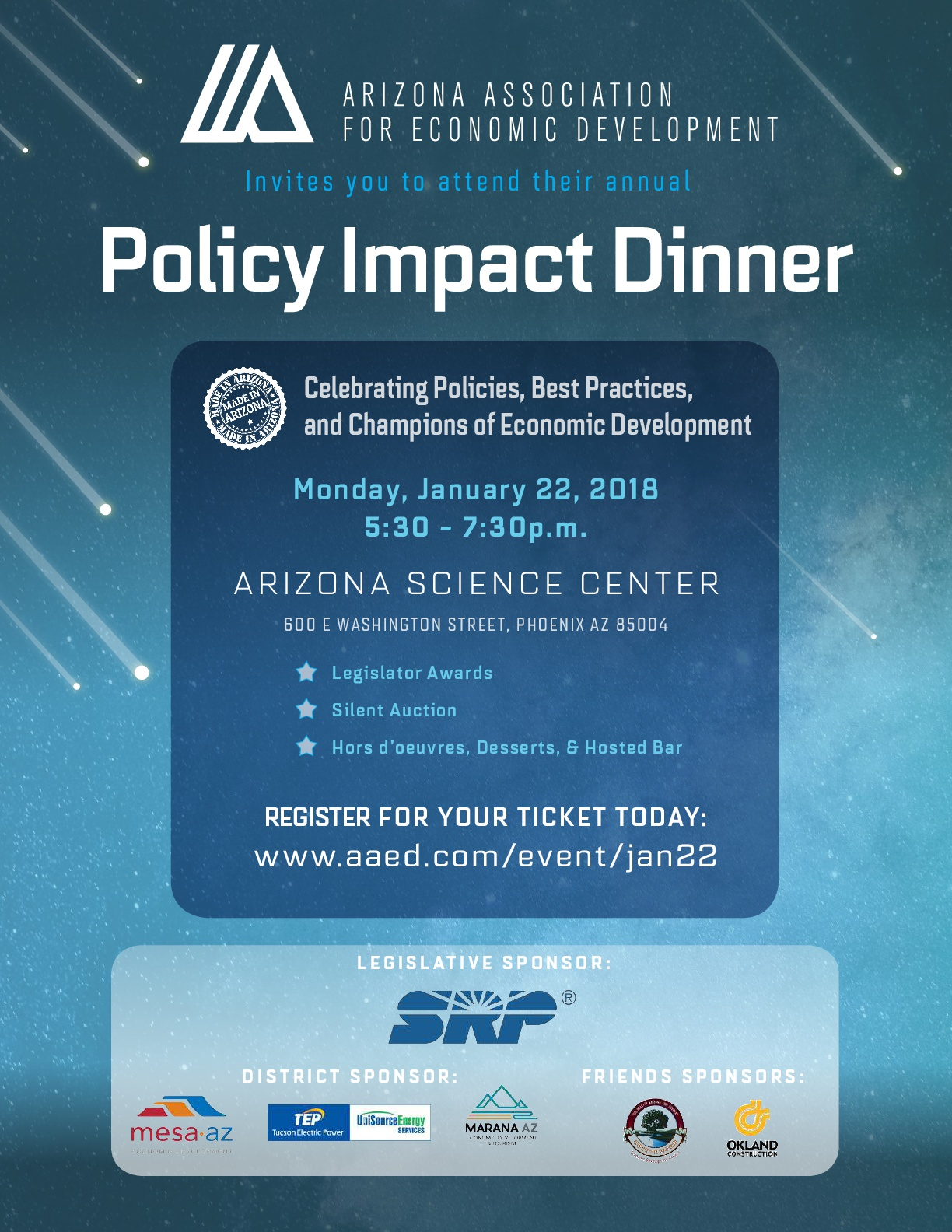 AAED - Policy Impact Dinner @ Arizona Science Center | Phoenix | Arizona | United States