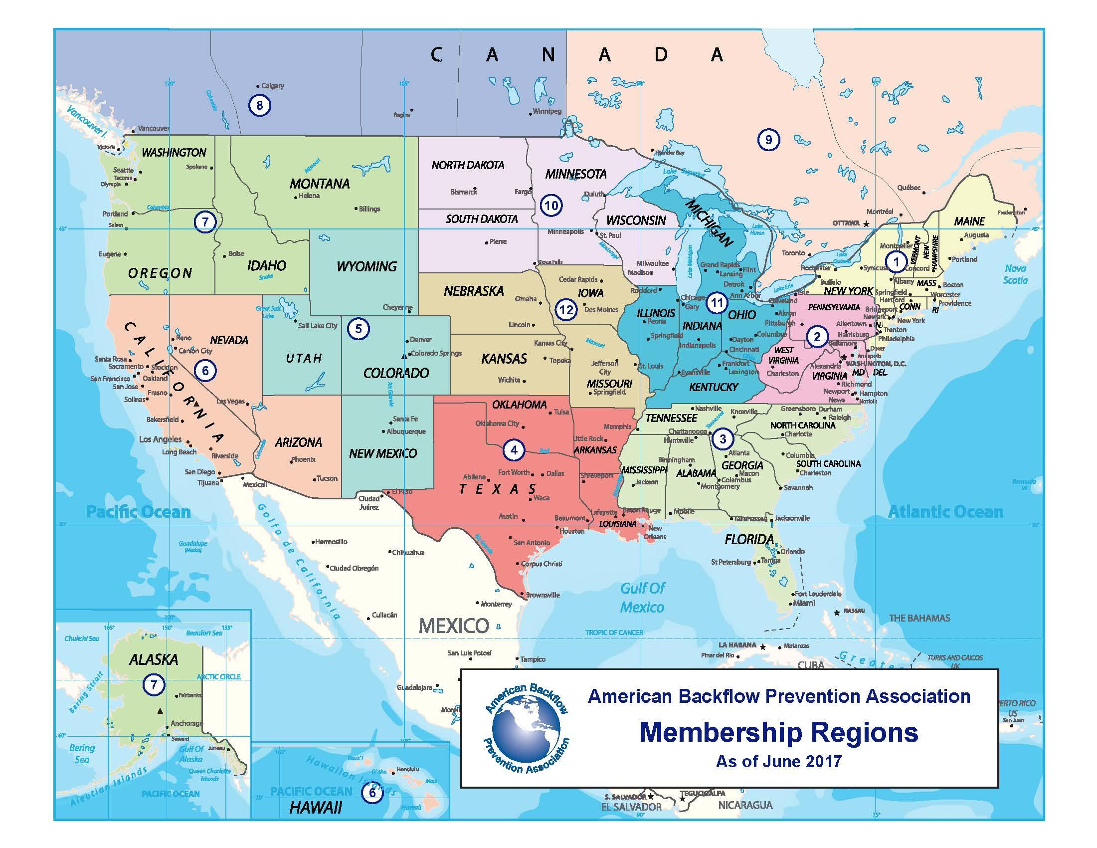 region map american backflow prevention association