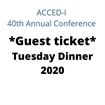 Guest - Tuesday Dinner 2020