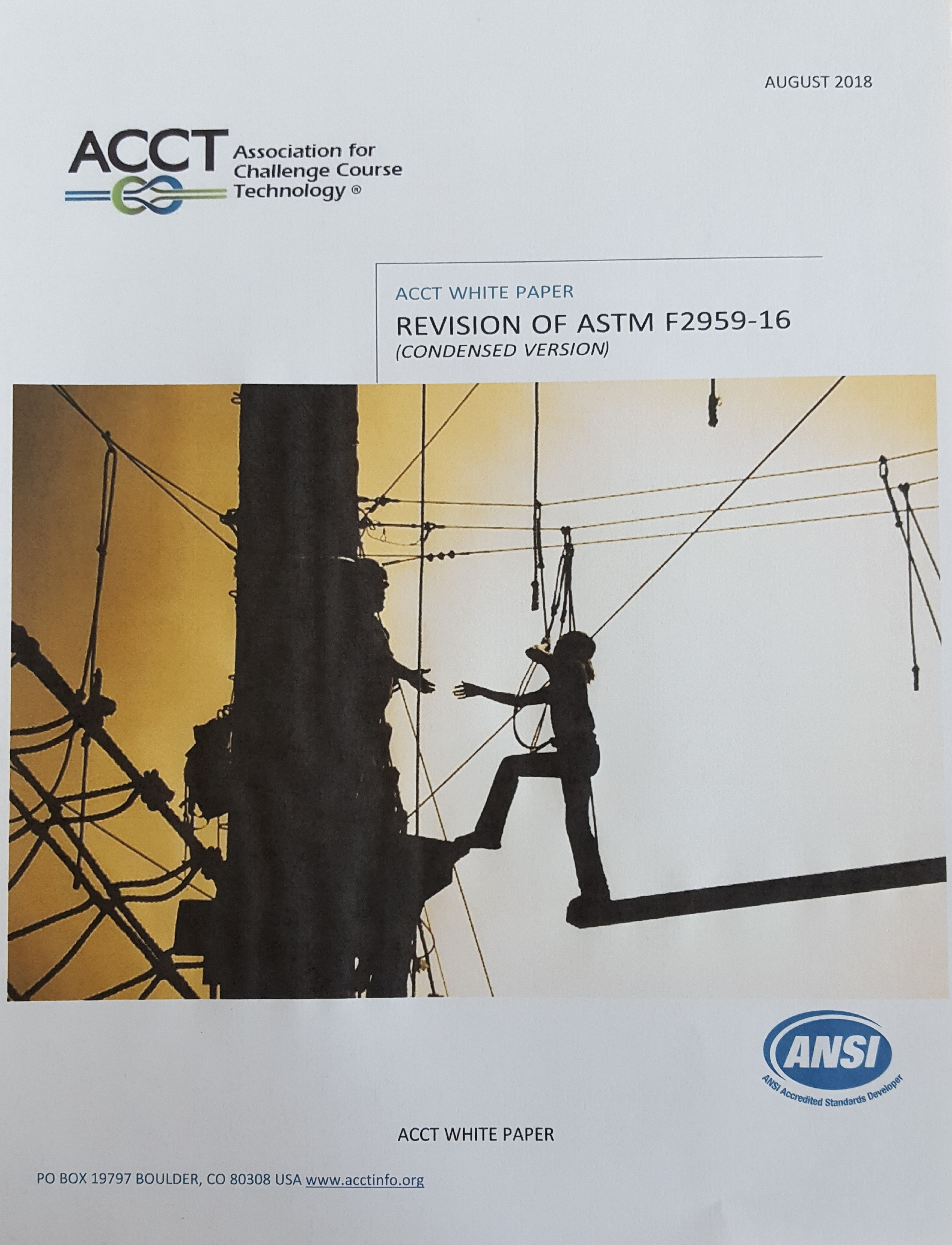 Association For Challenge Course Technology Ansi Wiring Diagram Acct White Papers Accepting Applications 2019 Board Elections