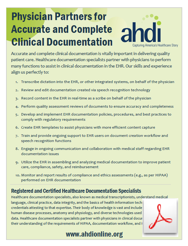 Physician Partners In Clinical Documentation Association For
