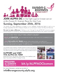 Susan Komen OC Race for the Cure- ALPFA OC Team