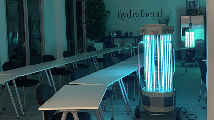 UV disinfection of a business