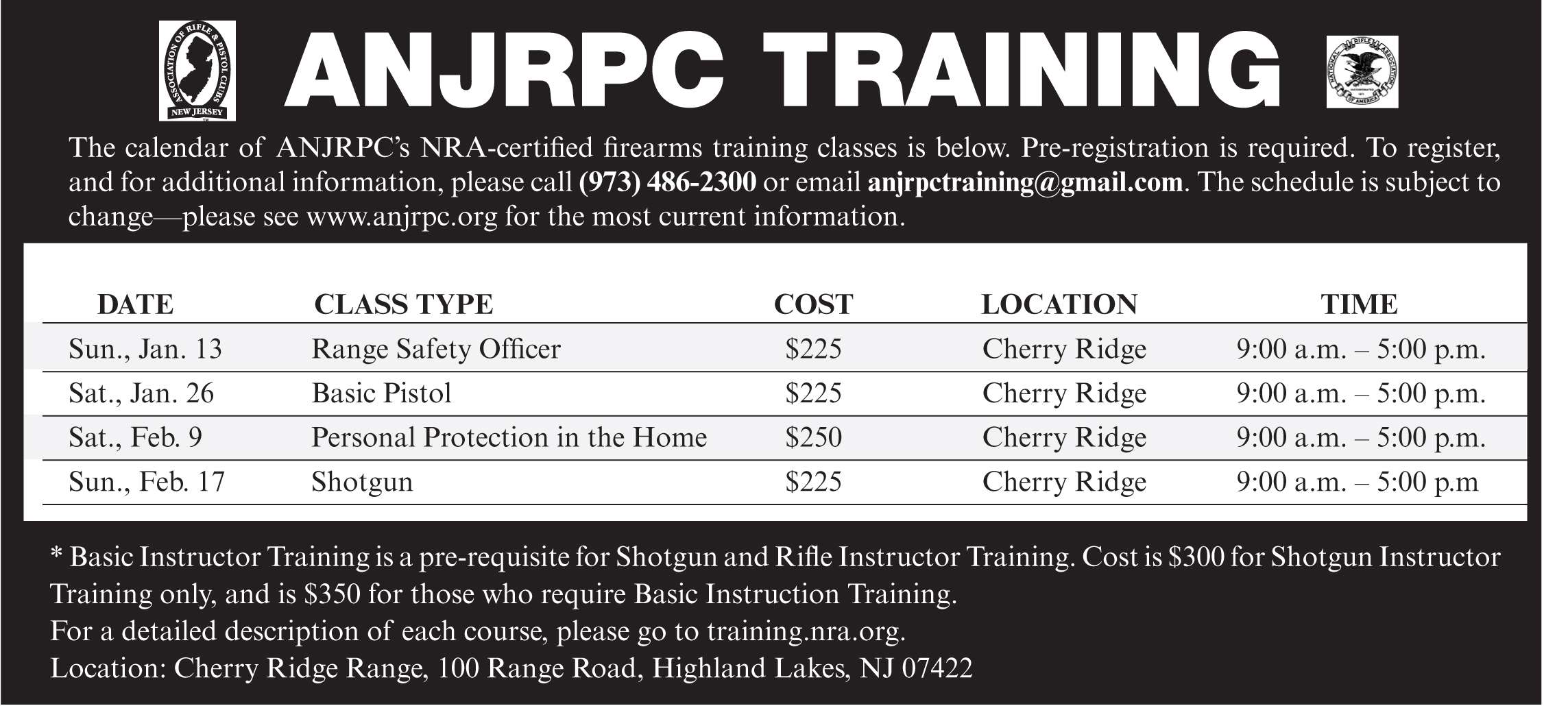 Training Class Schedule Association Of New Jersey Rifle And Pistol