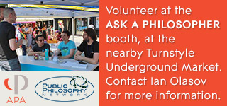 Volunteer at the Ask a Philosopher booth during the meeting, at the Turnstyle Underground Market.