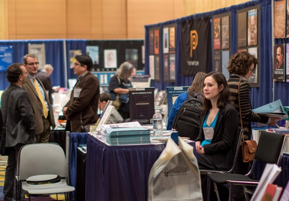 View of booths in an APA meeting exhibit hall