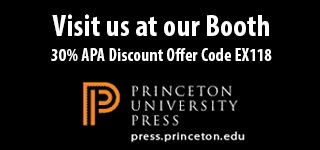 Visit Princeton University Press at our booth. 30% APA discount offer code EX118.