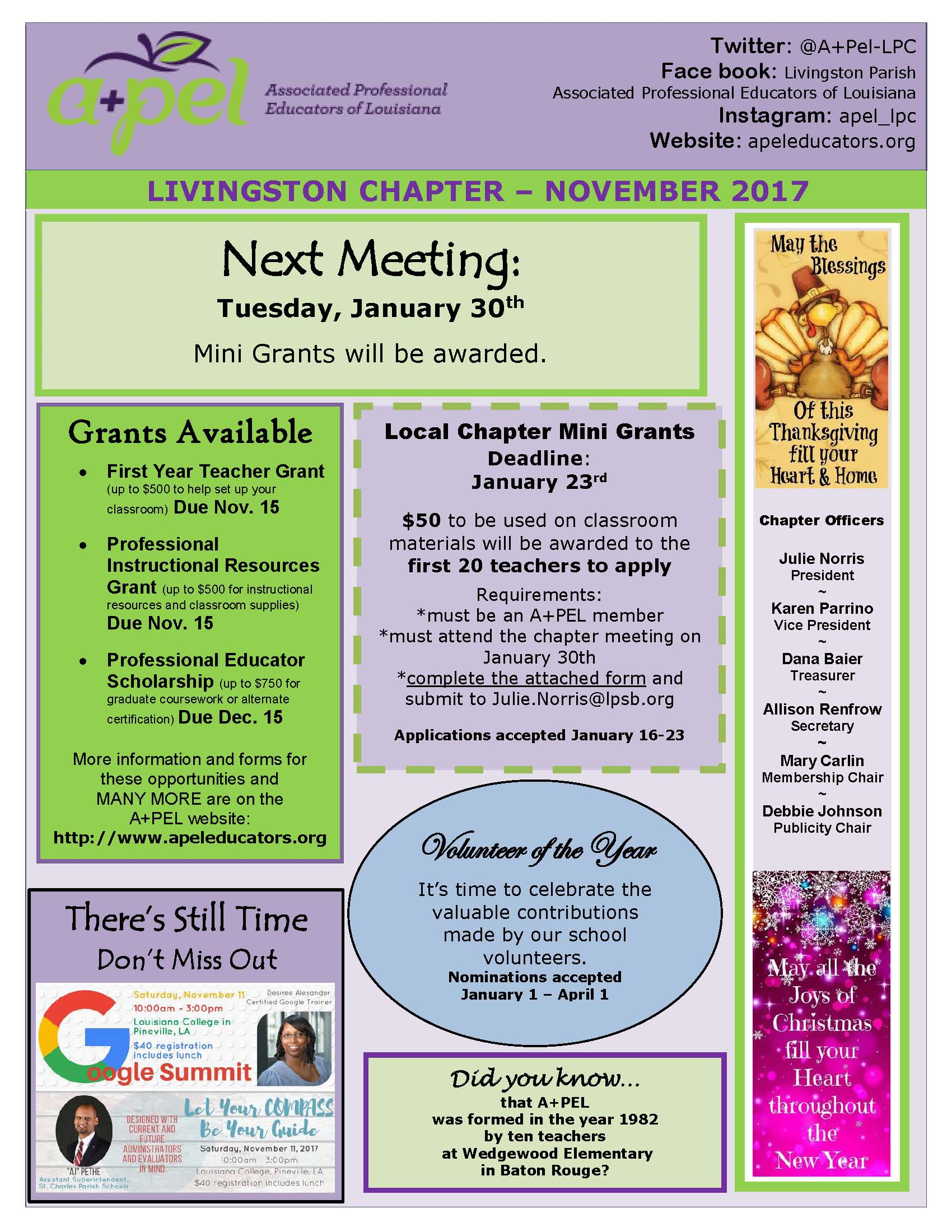 Livingston apel chapter associated professional educators of click here to view the nov 2017 newsletter 1betcityfo Images