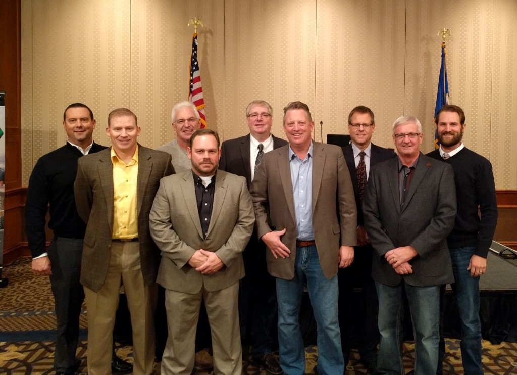 (L to R): Matt Timmers, Midwest Asphalt Corp. (Director); Chris Benson, Commercial Asphalt Co. (Director); Dave Clement, KGM Contractors, Inc (Director); Chris Miller, Hardrives, Inc. (Director); Troy Plaster, Ulland Brothers, Inc. (Secretary);  Jason Duininck, Duininck Inc. (Vice President); Kent Peterson, Bituminous Roadways, Inc. (President); Doug Muyres, Knife River Materials (Past President); Brent Carron, Valley Paving, Inc. (Treasurer)