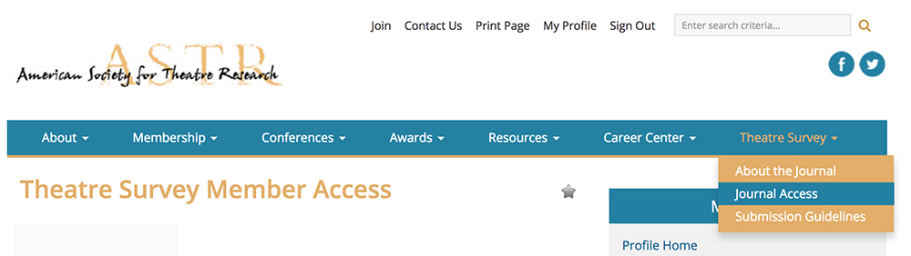 Journal Access drop-down menu available for members-only.