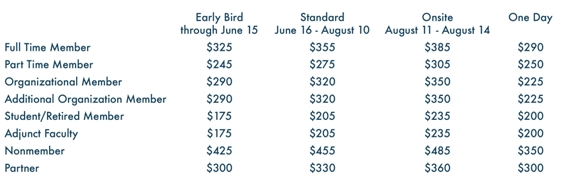2016 Conference Registration Rates