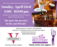 Enjoy Dinner at Brasserie V for Breast Cancer Recovery