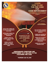 Substandard Conditions and Enforcement as it Relates to the California Fire Code - San Marcos, CA