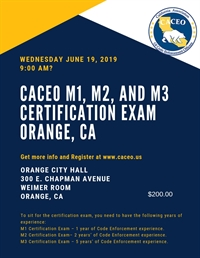 CACEO Certification Exam M1, M2, and M3 - Orange, CA