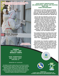 2019 Lead Safety Certification:  EPA Renovation Repair & Painting (RRP) for Code Enforcement Oakland