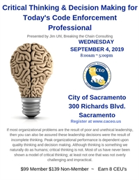 Critical Thinking & Decision Making for Today's Code Enforcement Professional - Sacramento, CA