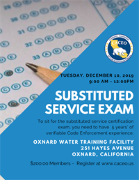 Substituted Service Certification Exam - Oxnard, CA