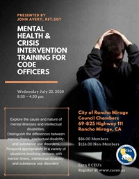 Mental Health and Crisis Intervention Training for Code Officers  - Rancho Mirage, CA