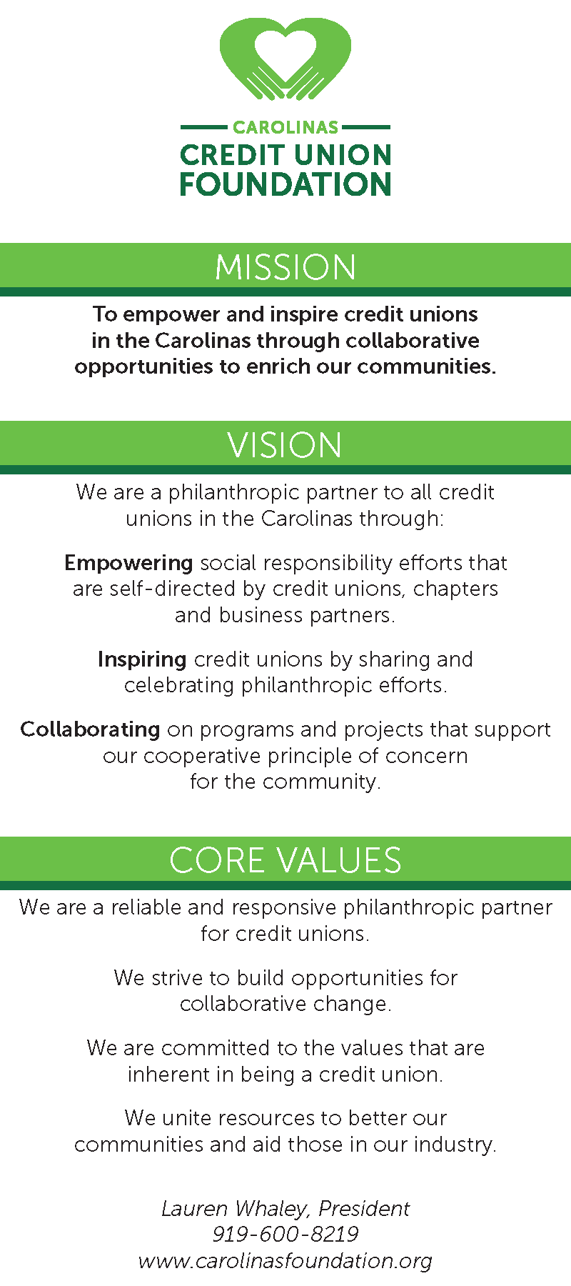 Carolinas Foundation mission and values