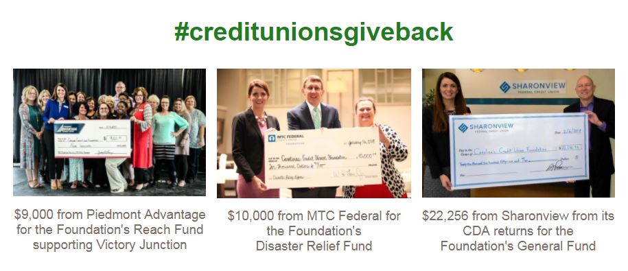 collage of credit union donations to Carolinas Foundation
