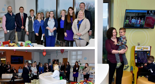 collage of naming ceremony at GHS Children's Hospital cancer center