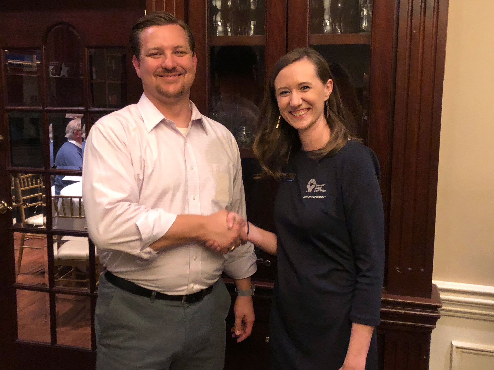 Upstate Chapter President Brian McKay congratulates Meaghan King