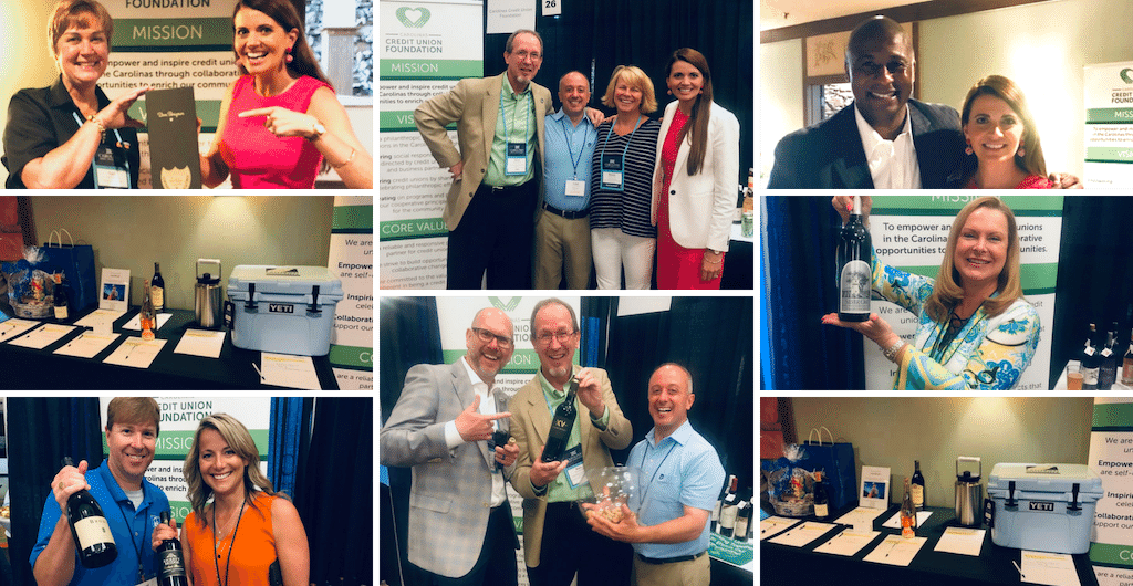 collage of Wine Pull and Silent Auction moments