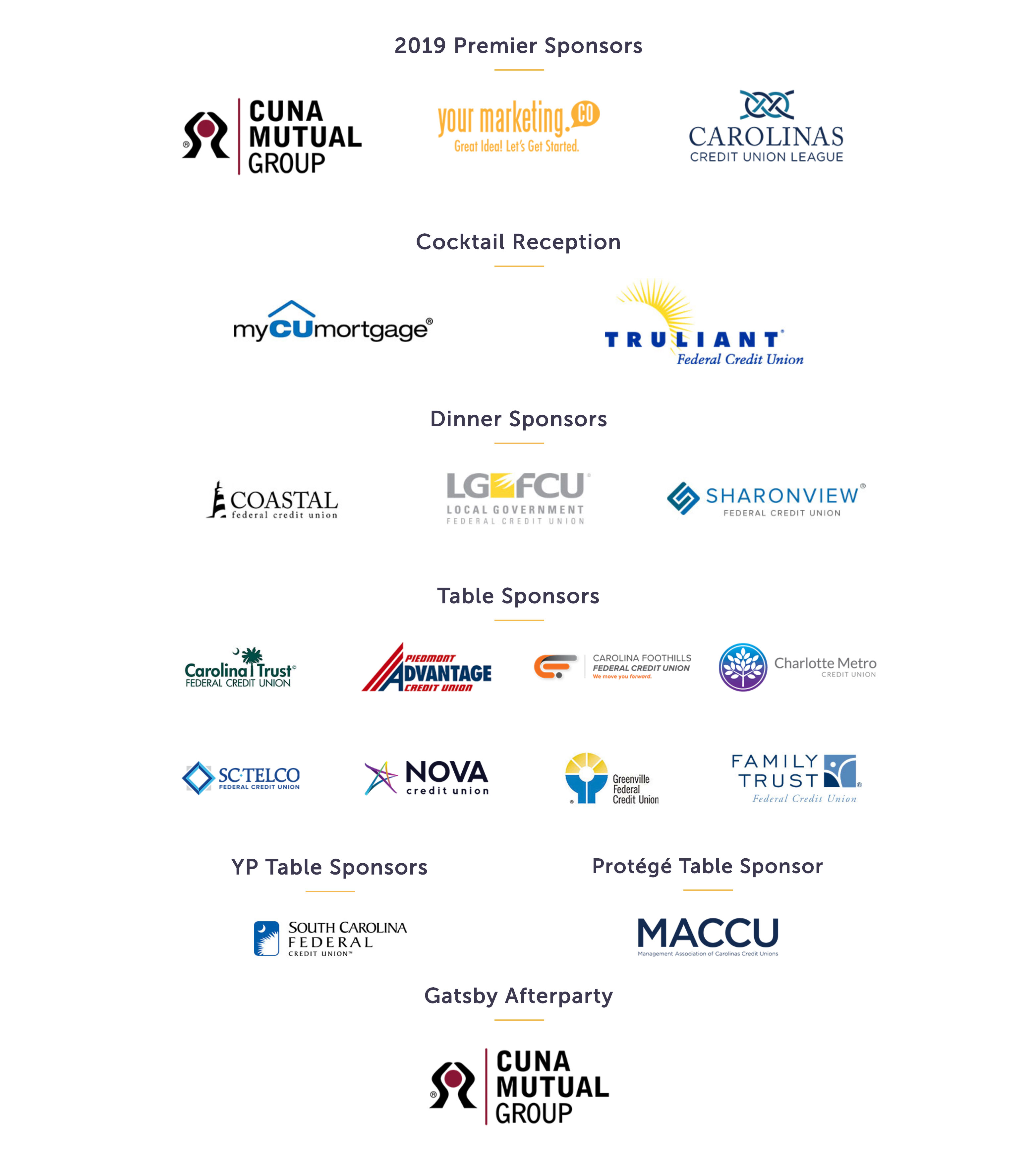 2020 Gala Sponsors to date