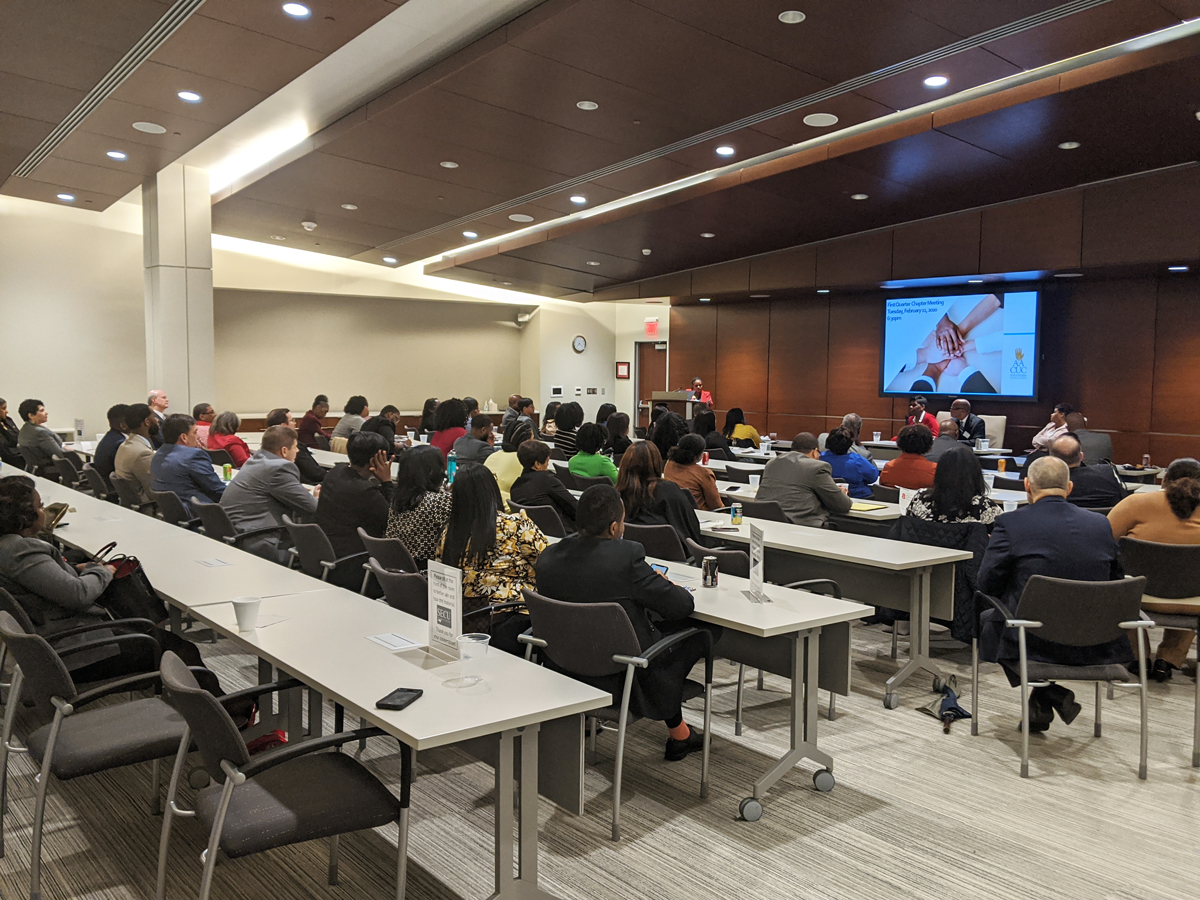 Wide shot of attendees at Feb 11 SRC chapter event